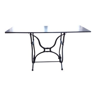 Wrought Iron & Slate Top Console Table