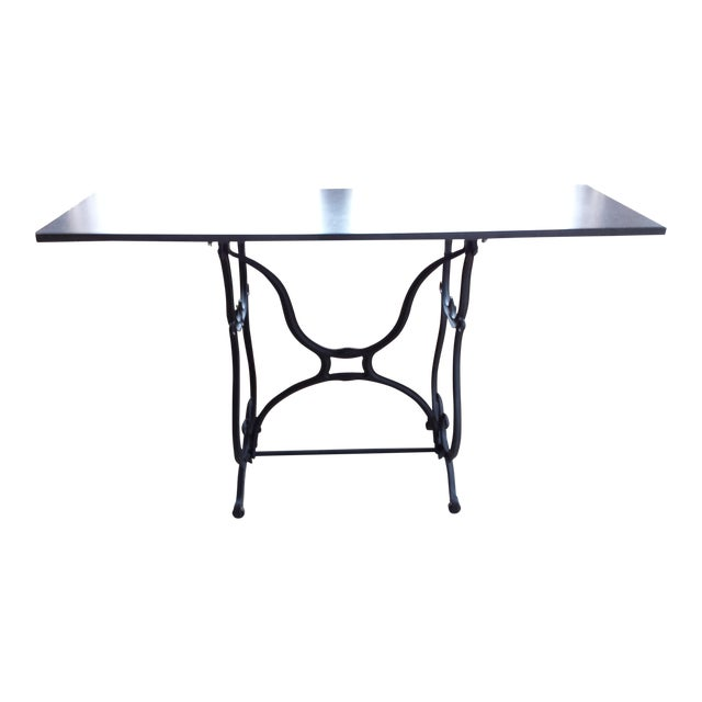 Wrought Iron Amp Slate Top Console Table Chairish
