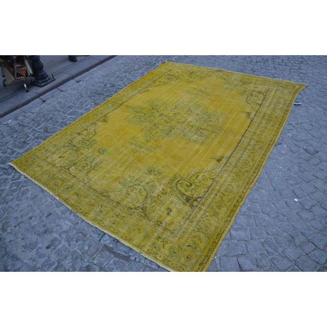 Turkish Handmade Yellow Rug - 6′1″ × 8′7″ - Image 3 of 6
