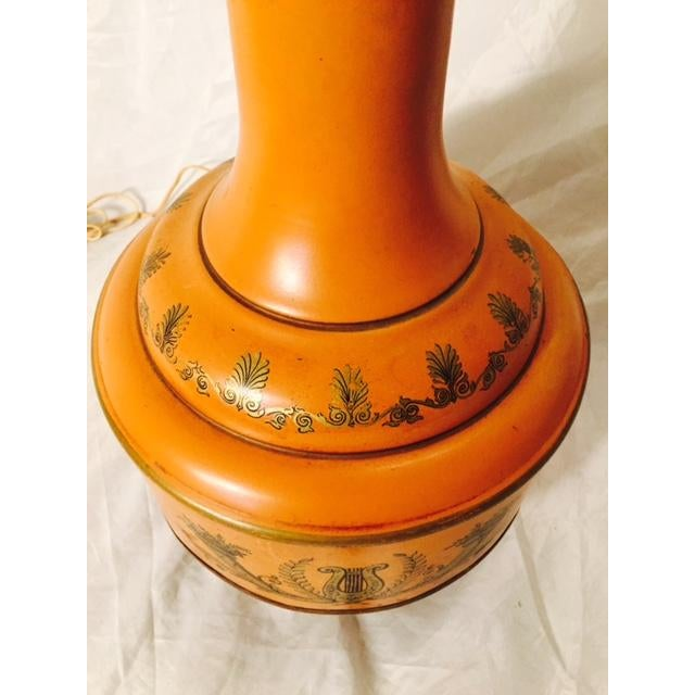 Mid-Century Metal Grecian Style Painted Lamp - Image 3 of 6