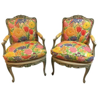 Louis XV Style Polychrome Decorated Fauteuils - A Pair