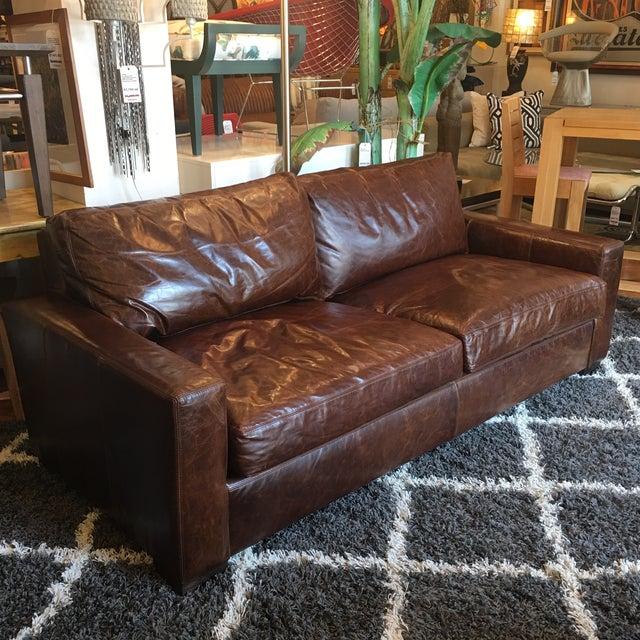 Restoration Hardware Petite Maxwell Leather Sofa Chairish - Restoration hardware leather sofas