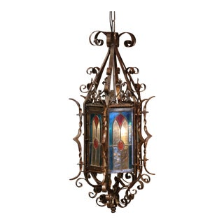 19th Century French Napoleon III Hexagonal Iron Lantern with Stained Glass
