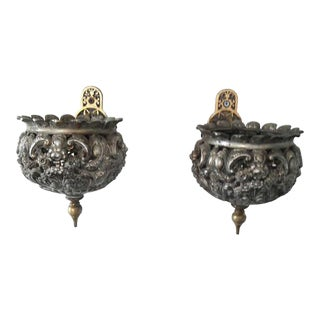 Antique French Wall Sconces / Planters - A Pair