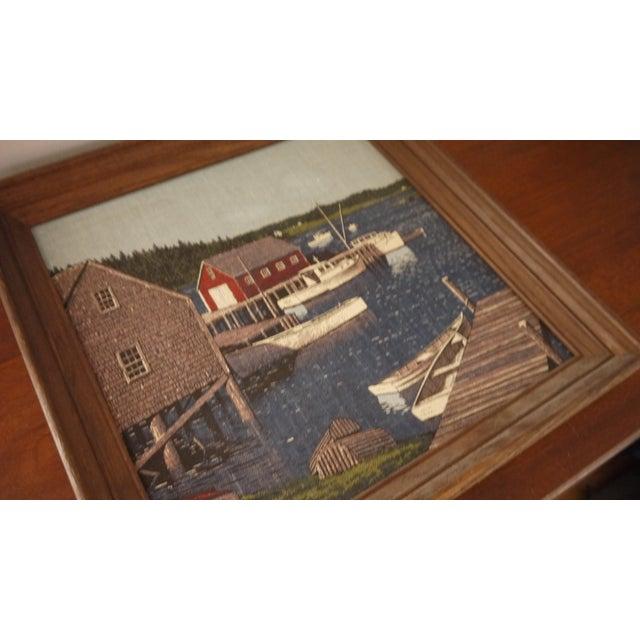 Image of Boats on a Dock, Linen Framed Artwork
