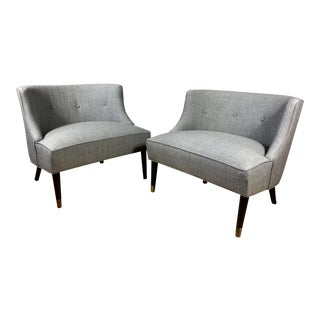 Pair of 1950s American Modern Low-Back Lounge Chairs