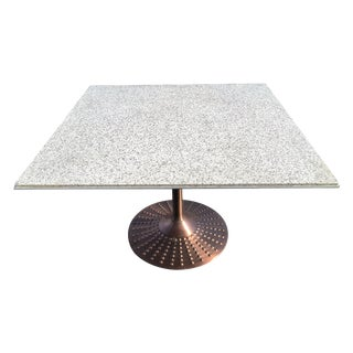 White Stone/Granite Table With Copper Base