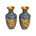Image of Blue Cloisonne Dragon Vases - A Pair