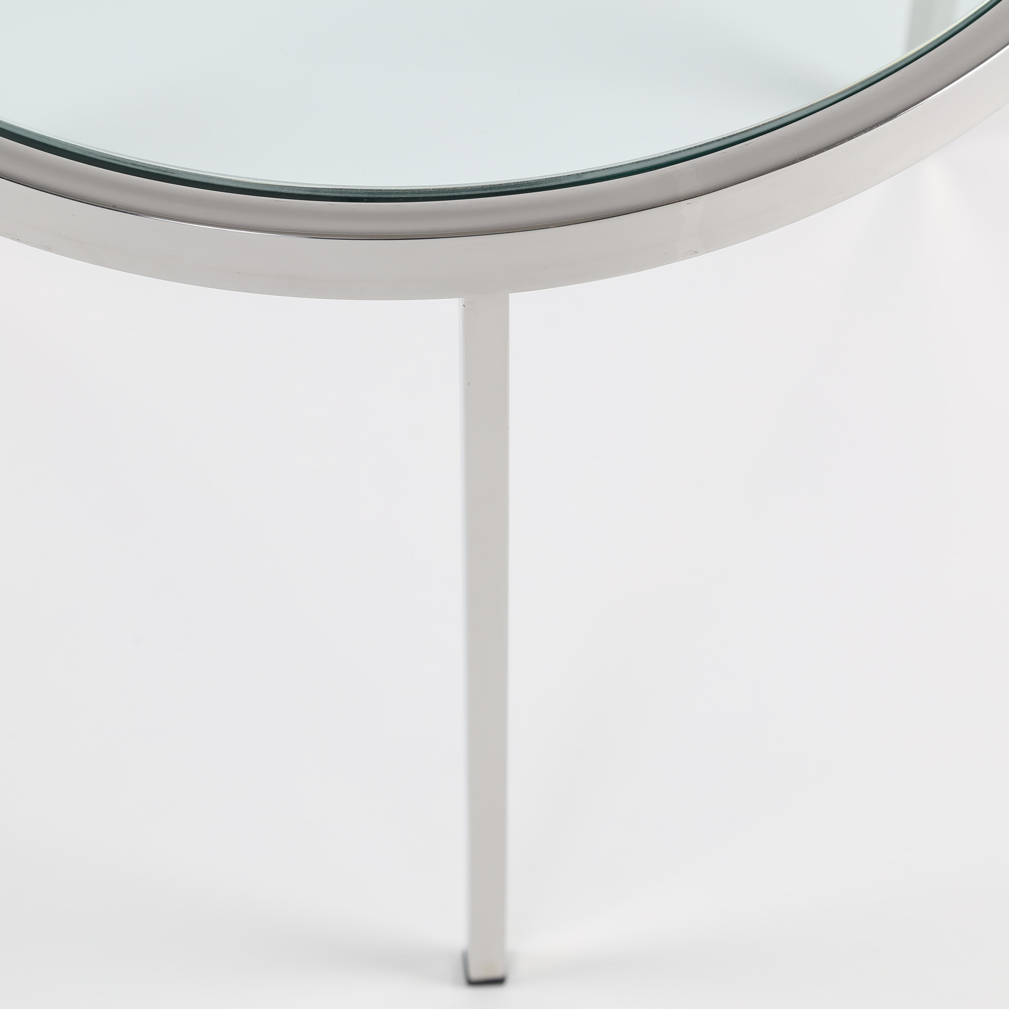MILO BAUGHMAN ROUND CHROME SIDE TABLE WITH INSET GLASS TOP, CIRCA 1970S    Image 8