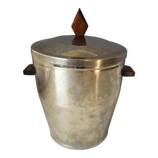 Mid-Century Stainless & Walnut Ice Bucket