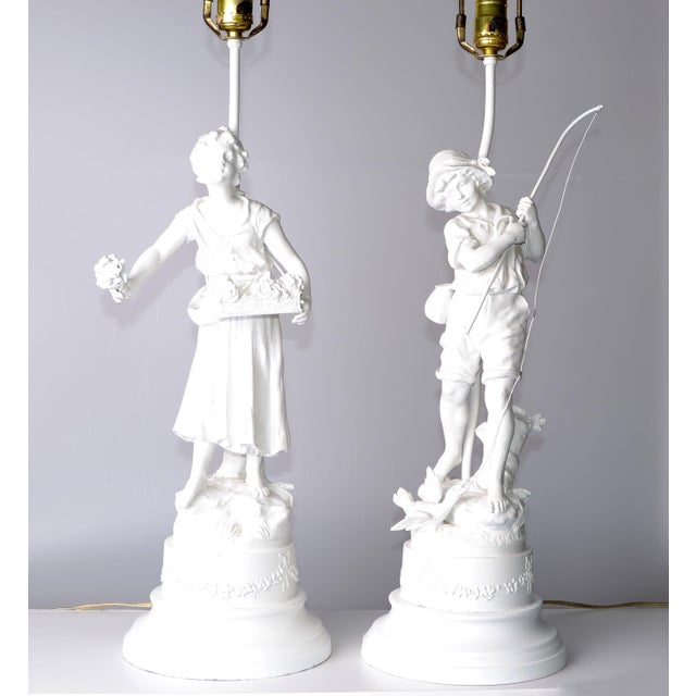 French Figurine Table Lamps - A Pair - Image 2 of 10