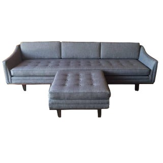 Mid-Century-Style Tufted Sofa with Ottoman