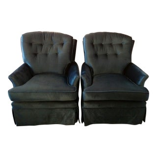 Vintage Blue Velvet Swivel Rockers - A Pair