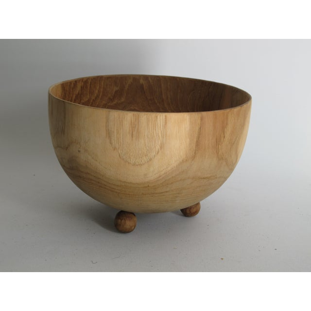 Carved Solid Wood Bowl with Bun Feet - Image 3 of 7