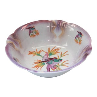 Opalescent Parrot Design Porcelain Serving Bowl