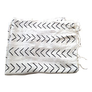 African Mudcloth Woven White & Black Throw