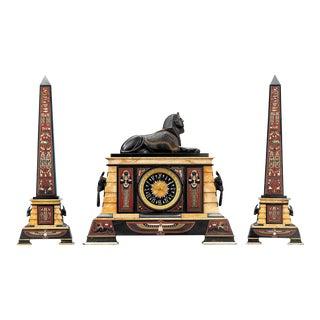 Egyptian Revival Clock Garniture