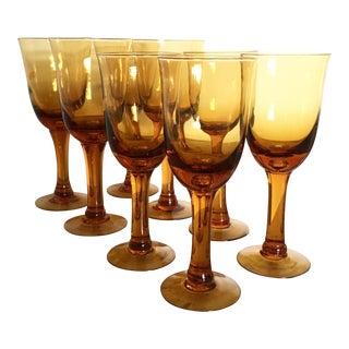 Handblown Amber Wine Glasses - Set of 8
