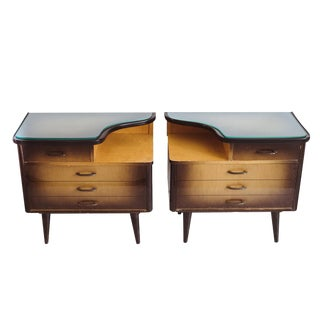 West German Sunburst Nightstands or Side Tables - A Pair