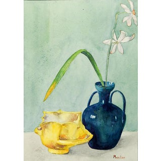 Blue Vase Still Life With Daffodils Watercolor