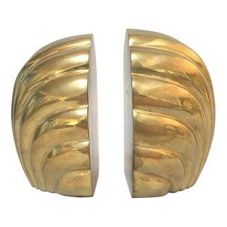 Art Deco Brass Scalloped Shell Waterfall Bookends - A Pair