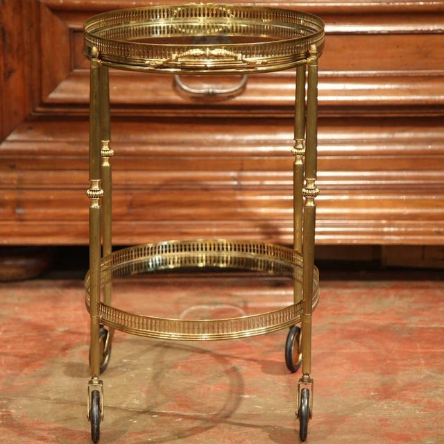 French Oval Brass Bar Cart on Wheels - Image 8 of 8