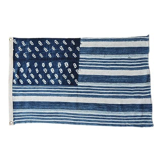 Custom Tailored Blue & White Flag From African Textiles