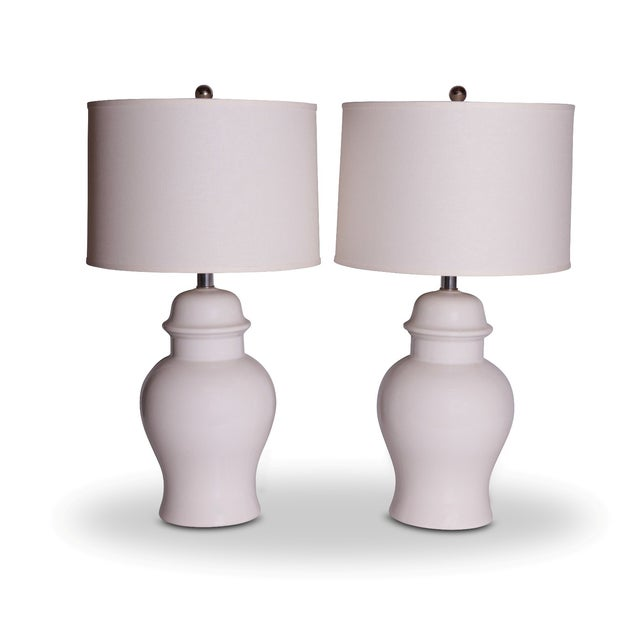 Image of Vintage White Ginger Jar Lamps - A Pair