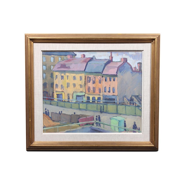 1948 Waterfront Colors Oil Painting - Image 1 of 3