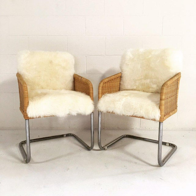Woven Chairs with Sheepskin Cushions - A Pair - Image 3 of 8