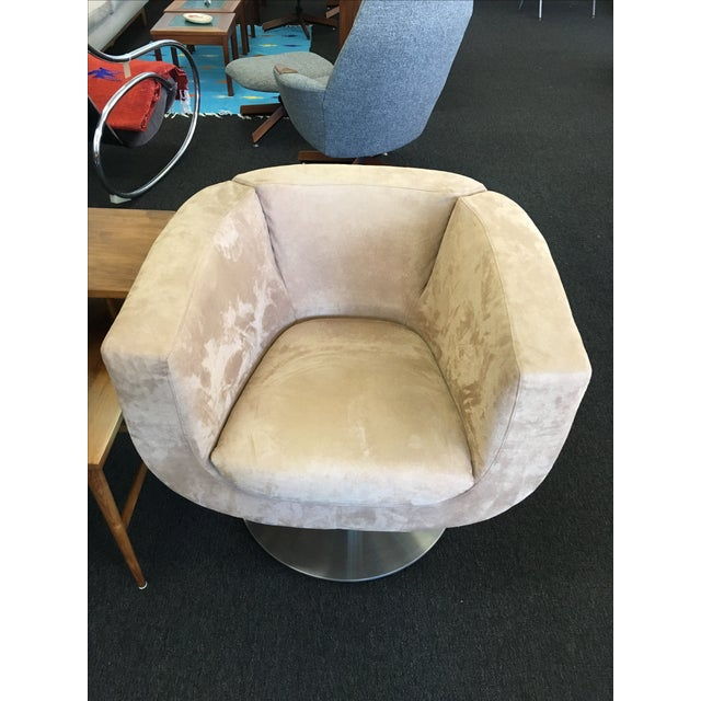 Triumph Microsuede Tulip Chairs - A Pair - Image 5 of 8