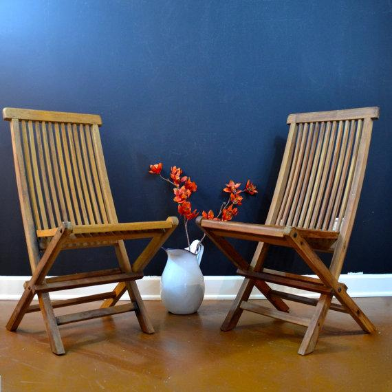 Image of Wellesley Manor Teak Folding Chairs - A Pair