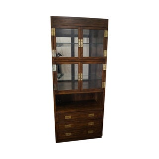 Henredon Scene One Campaign Style Curio Display Cabinet with Drawers