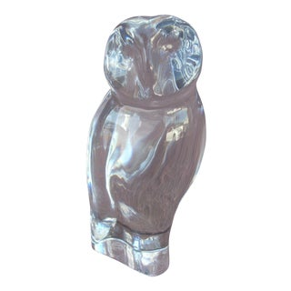 Baccarat Clear Crystal Owl Figurine