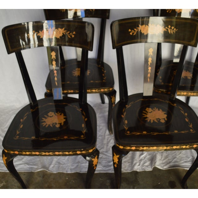 Image of Biedermeier-Style Inlaid Dinning Chairs - 4