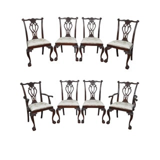 Councill Craftsman Set of 8 Mahogany Chippendale Style Ball & Claw Foot Dining Chairs (B)