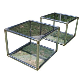 Mid-Century Chrome Smoked Glass Tables - A Pair