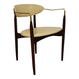 Dan Johnson Beechwood and Off-White Vinyl Viscount Chair