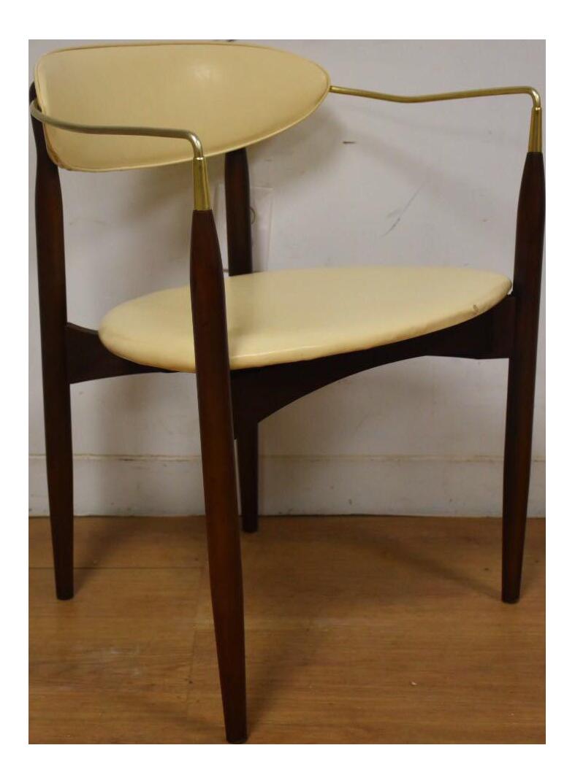 Dan Johnson Beechwood and Off-White Vinyl Viscount Chair - Image 1 of 10