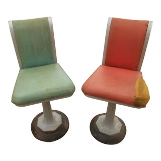 Art Deco Industrial Chicago Swivel Stools - A Pair