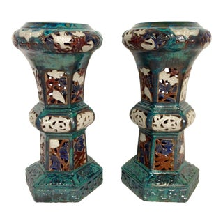 Contemporary Ceramic Tall Plant Stands - Pair