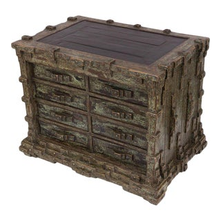 Impressive Brutalist Art Drawer Cabinet With a Beautiful Patina, Signed Ar-bo