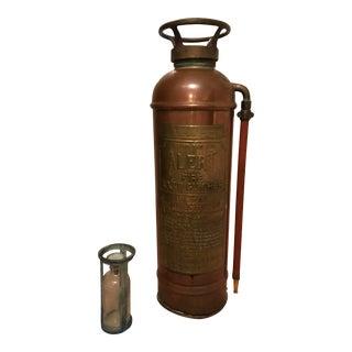 Antique American Copper & Brass Fire Extinguisher