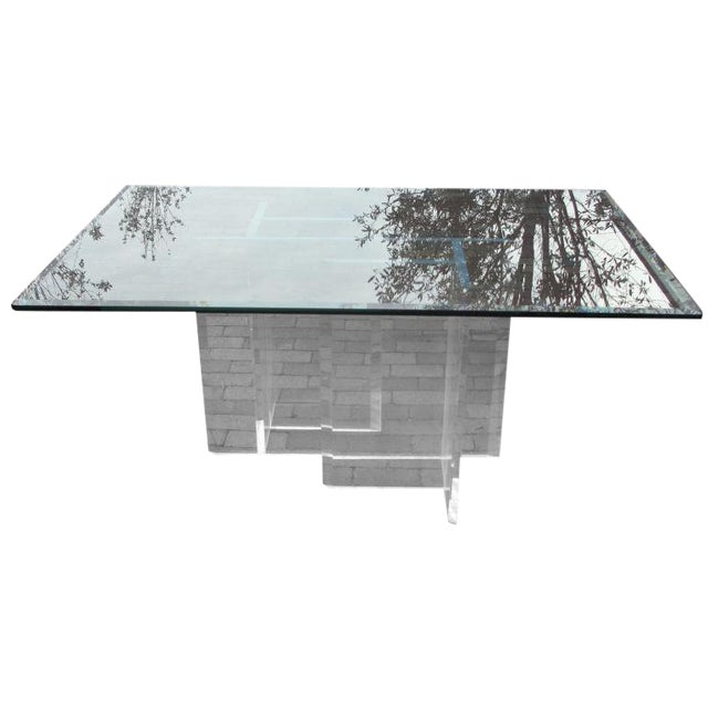 Lucite Base Dining Table/ Desk - Image 1 of 5