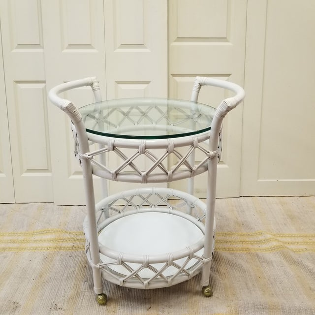 Mid-Century Ficks Reed Painted Rattan Rolling Bar Cart - Image 2 of 5