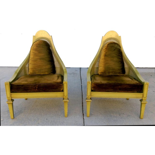 Mid-Century Green Cane Slipper Chairs - A Pair - Image 3 of 10