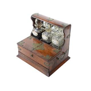 19th C Antique Captain Oak Tantalus & 3 Decanters