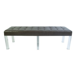 Lucite Prism Bench in Gunmetal Leather with Blind Tufting by Montage