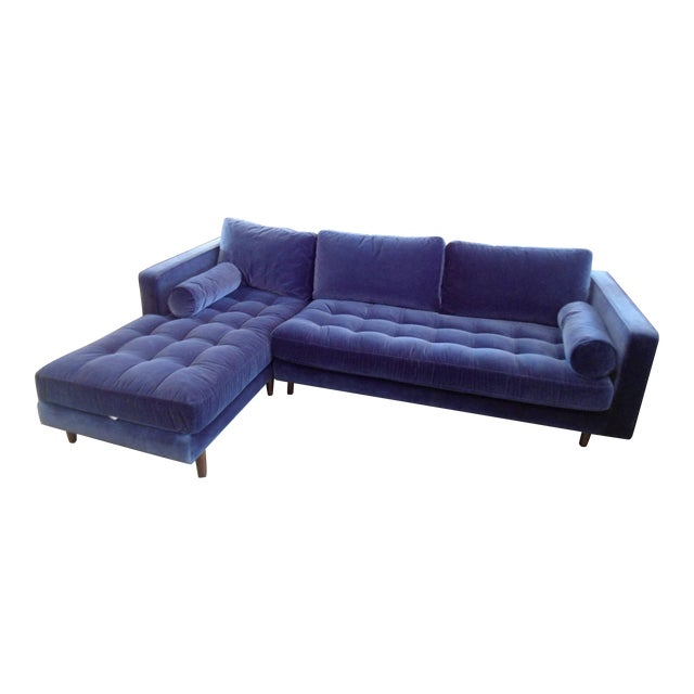 Navy Blue Velvet Sectional W/ Tufted Seat, Left Chaise - Image 1 of 6
