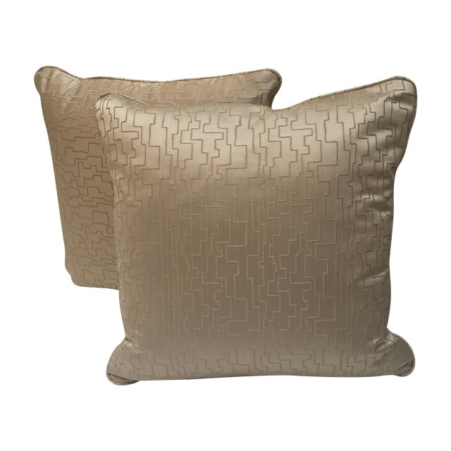 Modern Geometric Satin Pillows- A Pair - Image 1 of 6